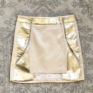 Mustard seed vegan leather reptile skirt small